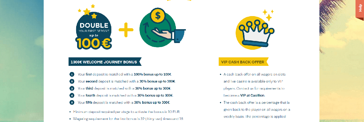 An image of bonuses at Casillion Casino