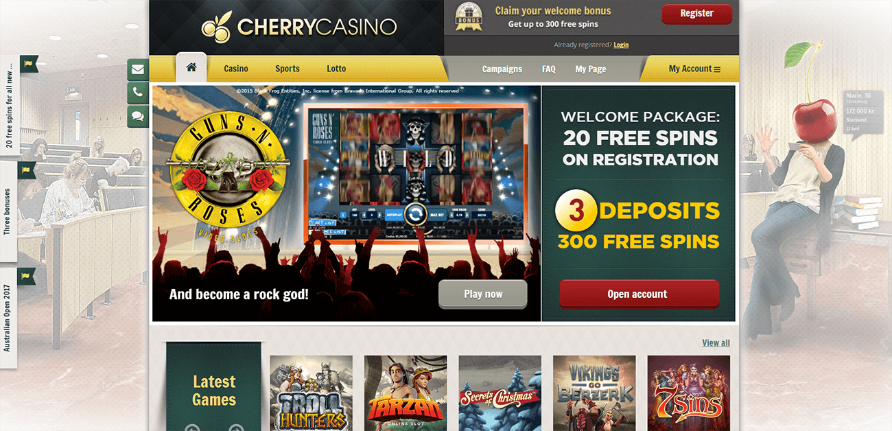 An image of the Cherry Casino Website homepage