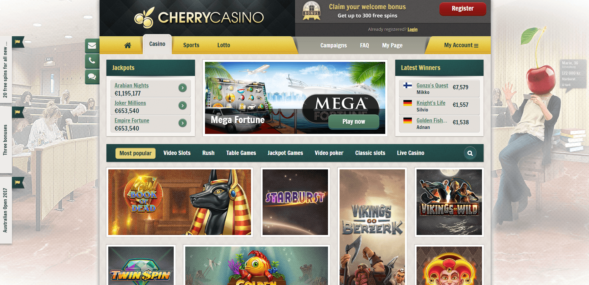 An image of the Cherry Casino Website casino page