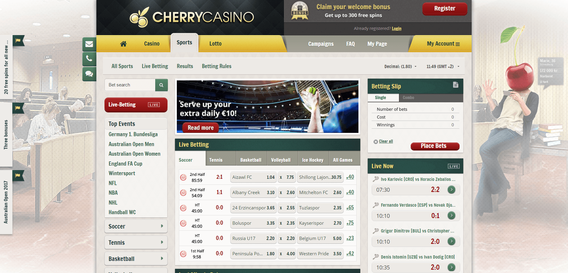 An image of the Cherry Casino Website sports page
