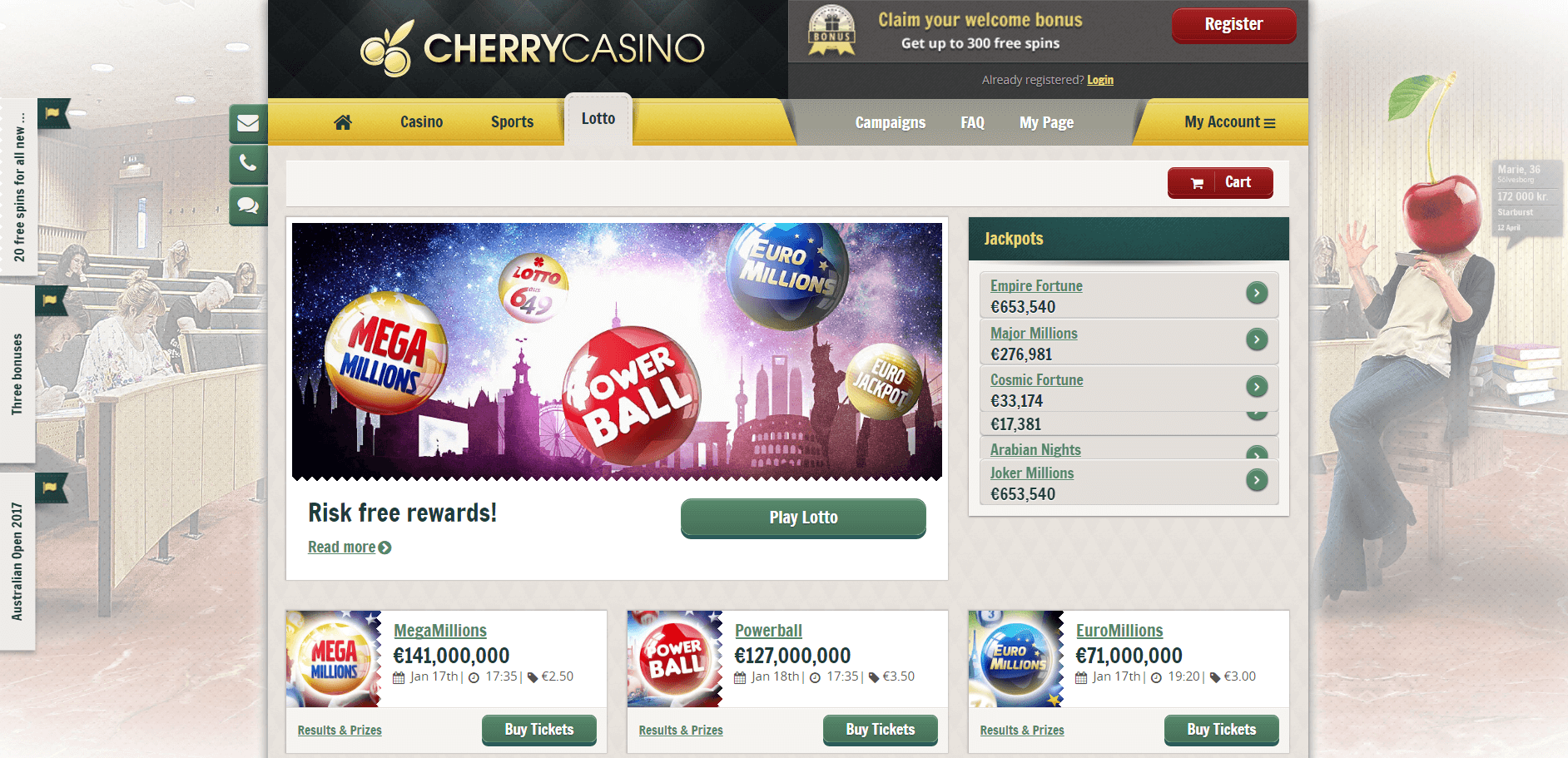 An image of the Cherry Casino Website lotto page