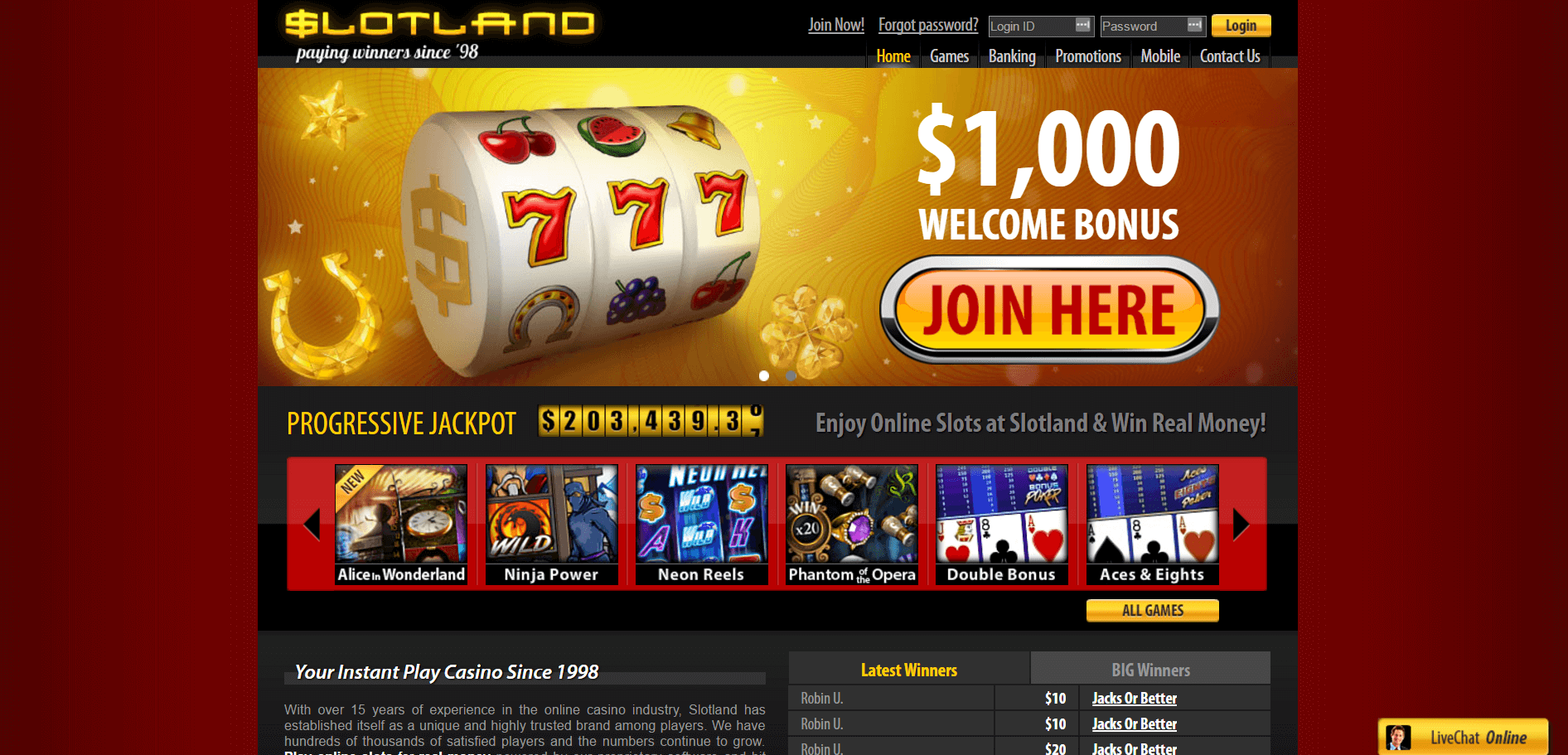 An image of the Slotland Casino Website home page