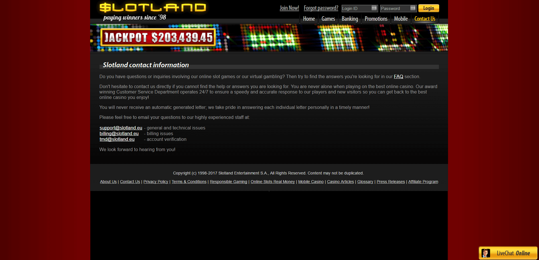An image of the Slotland Casino Website contact us page