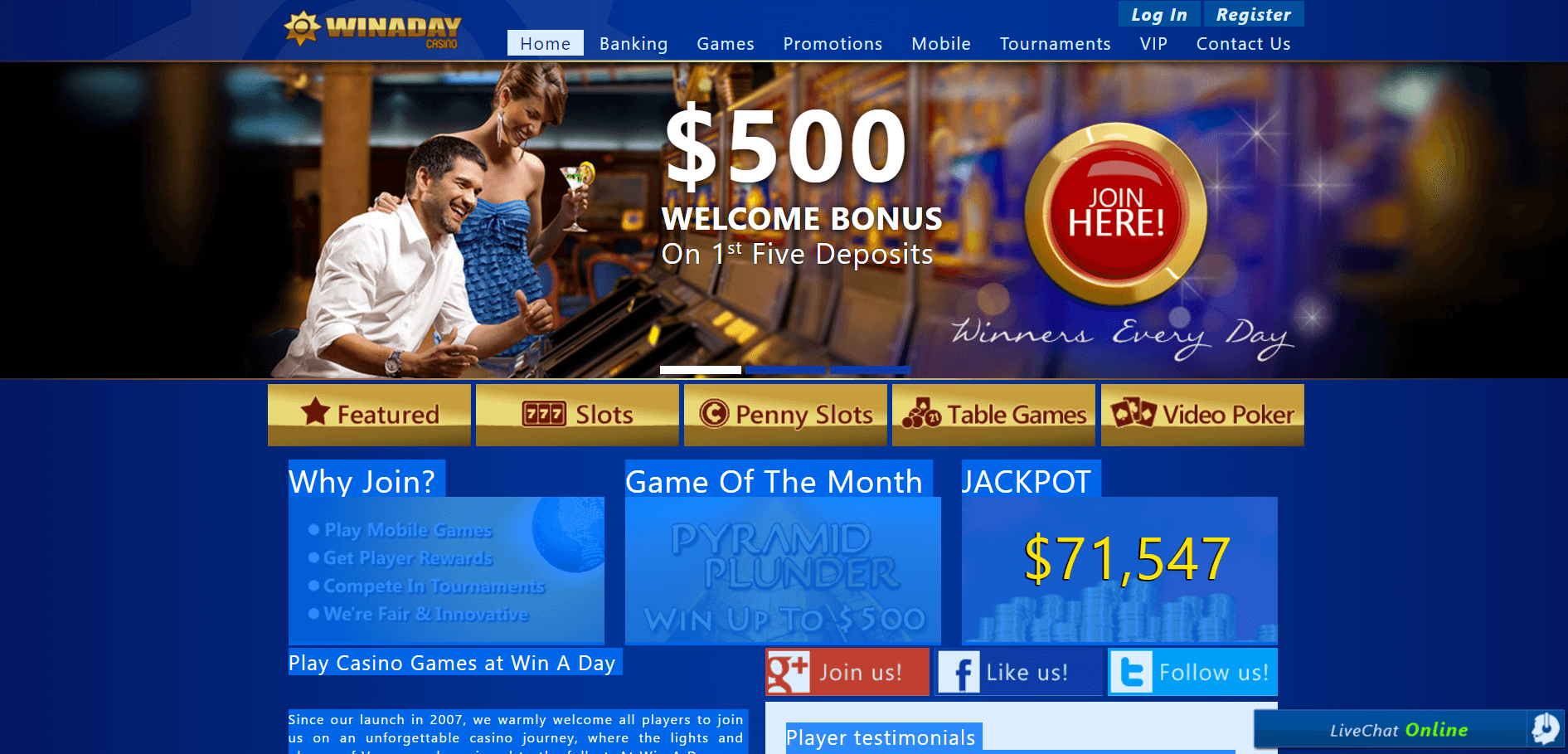 An image of the Winaday Casino Website home page