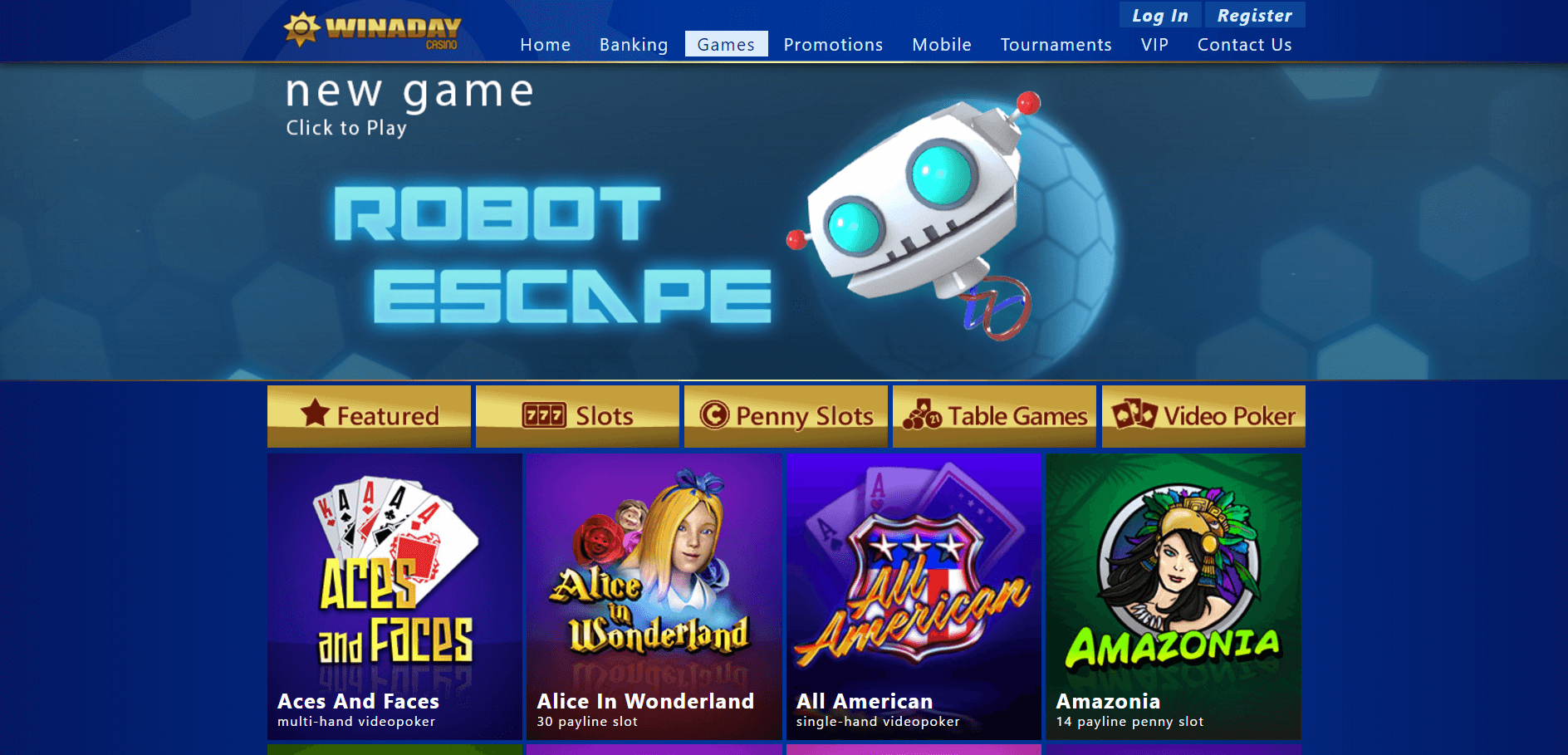 An image of the Winaday Casino Website games page