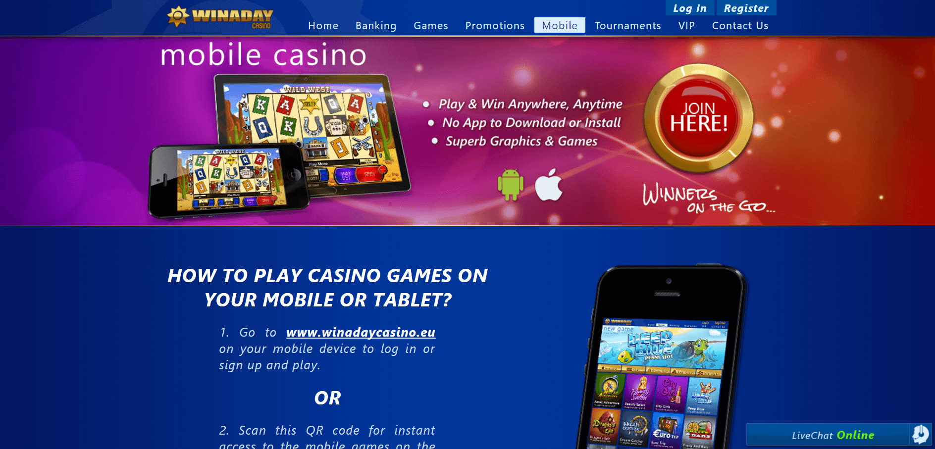 An image of the Winaday Casino Website mobile page