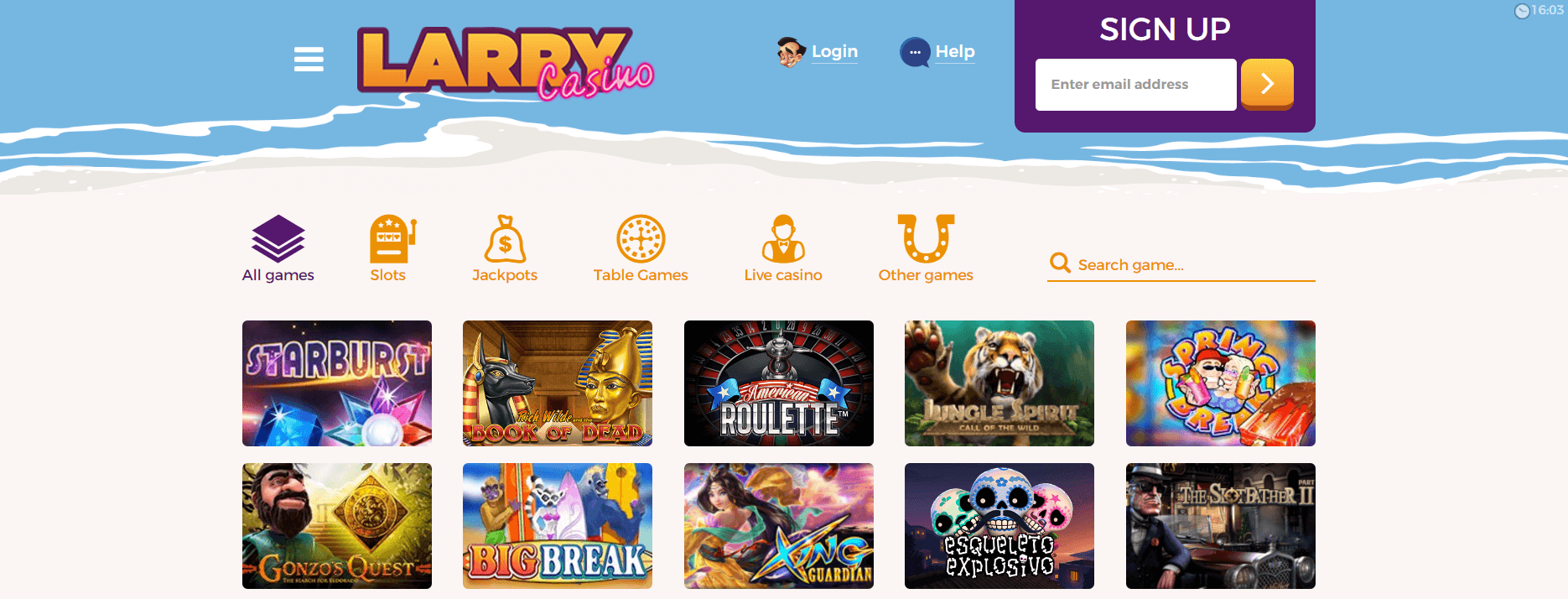 A screenshot of Larry Casino games page