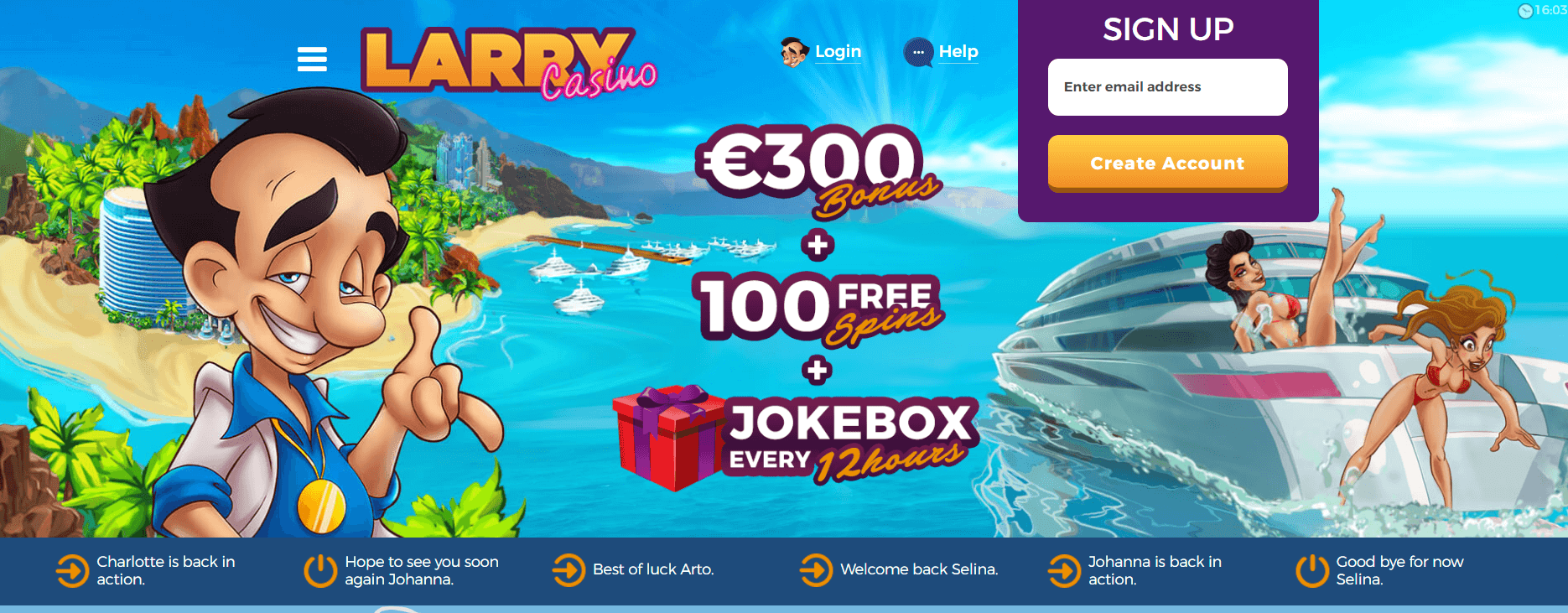 A screenshot of Larry Casino Home page