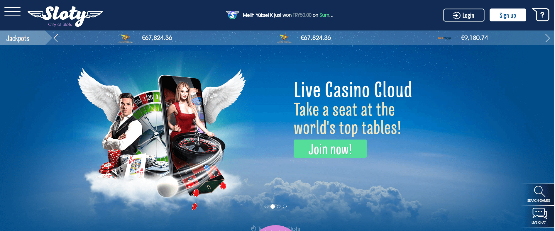 An image of the Sloty casino home page