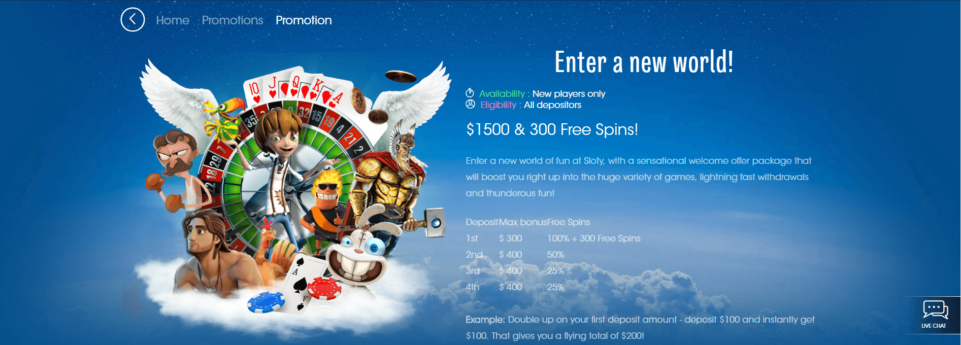 An image of the Sloty casino promotions page