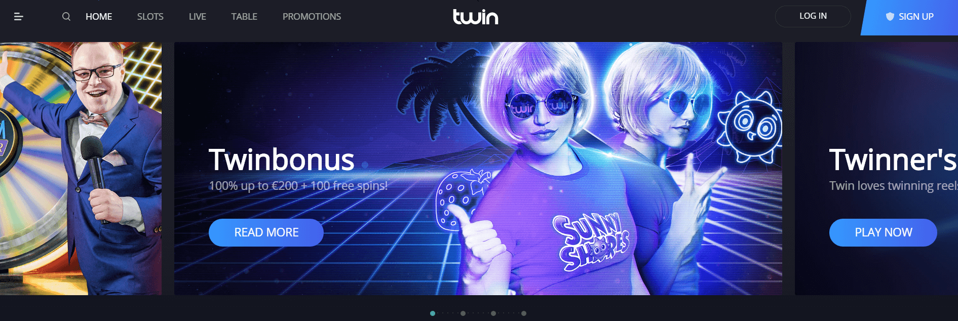 An image of twin casino homepage