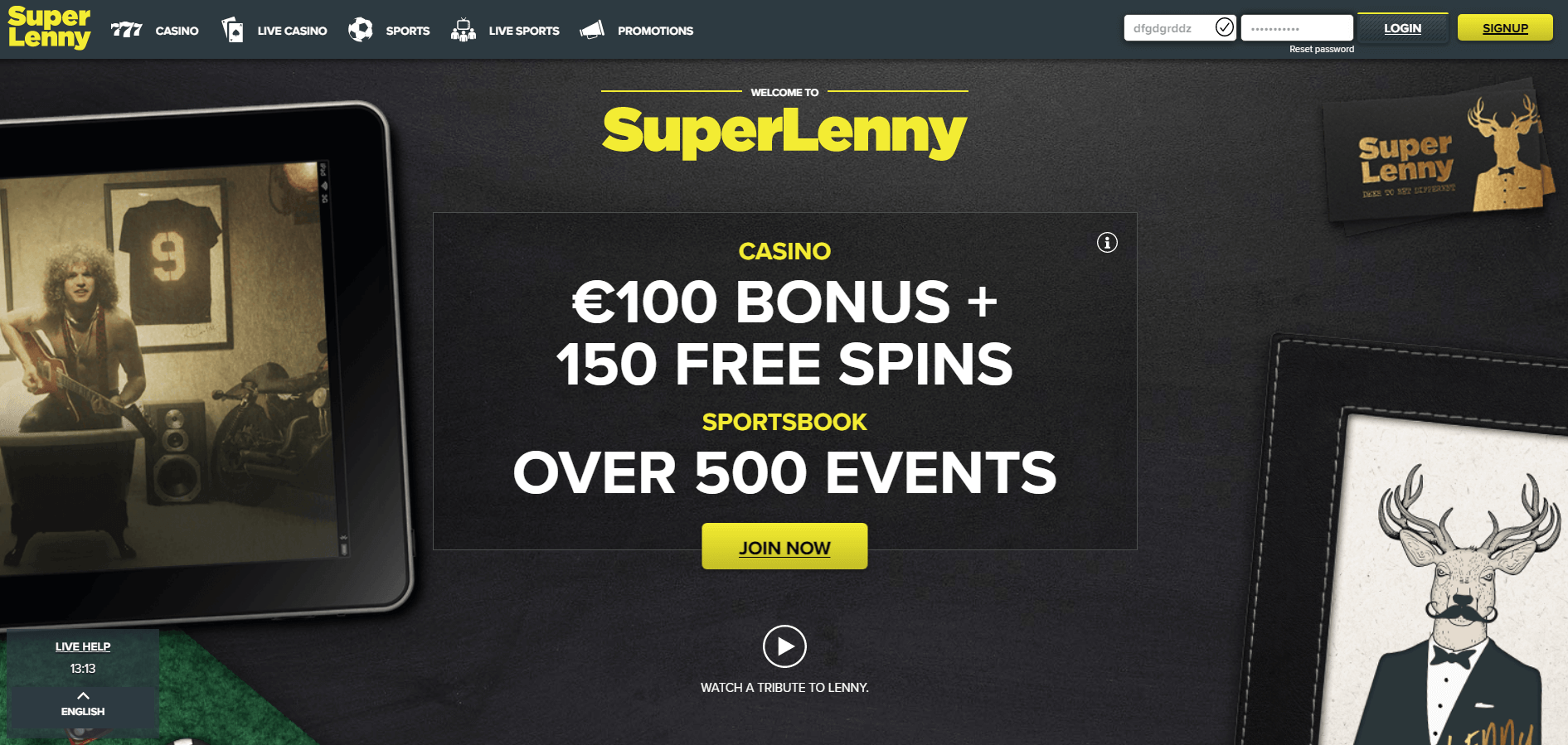 An image of the home page at Superlenny