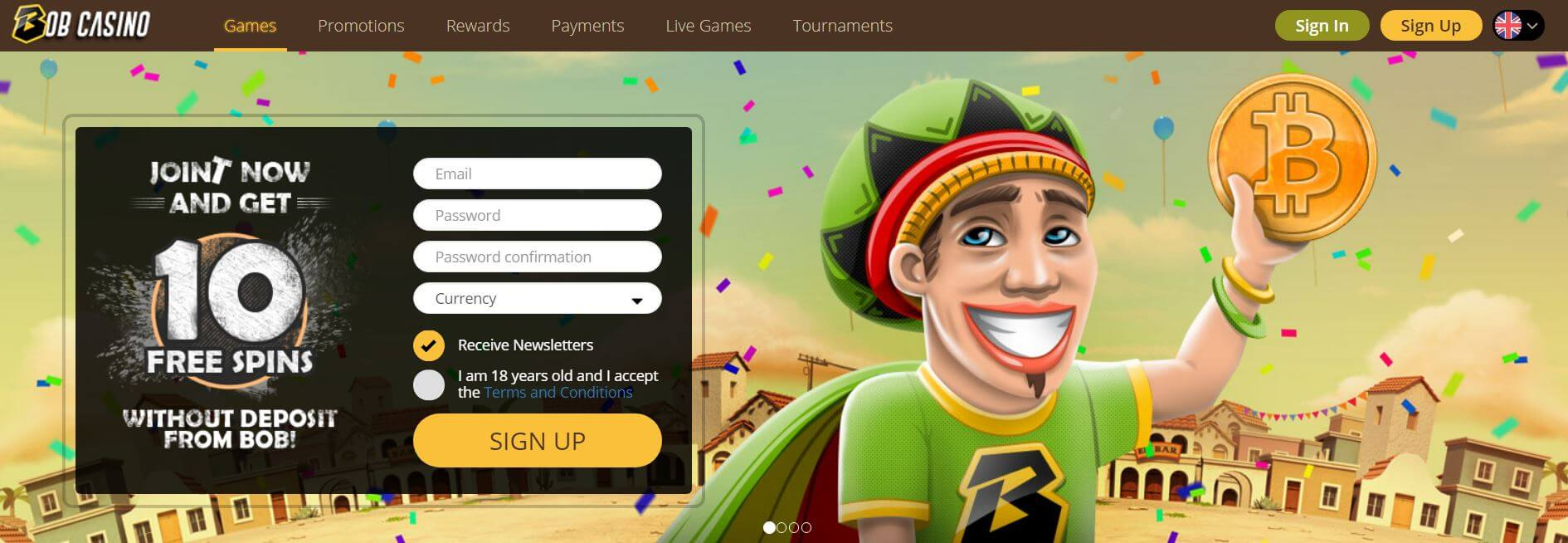 An image of the home page at Bob Casino