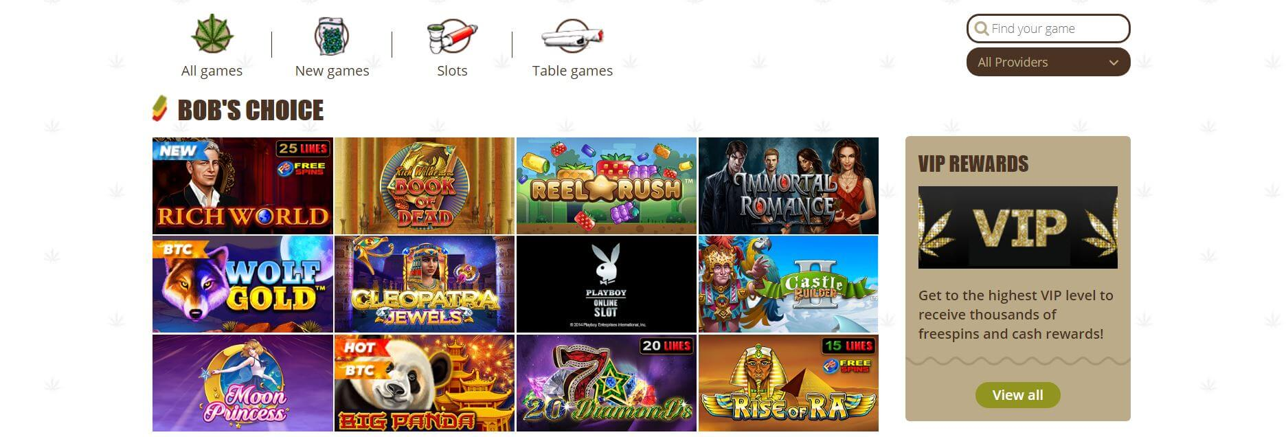 An image of the games page at Bob Casino