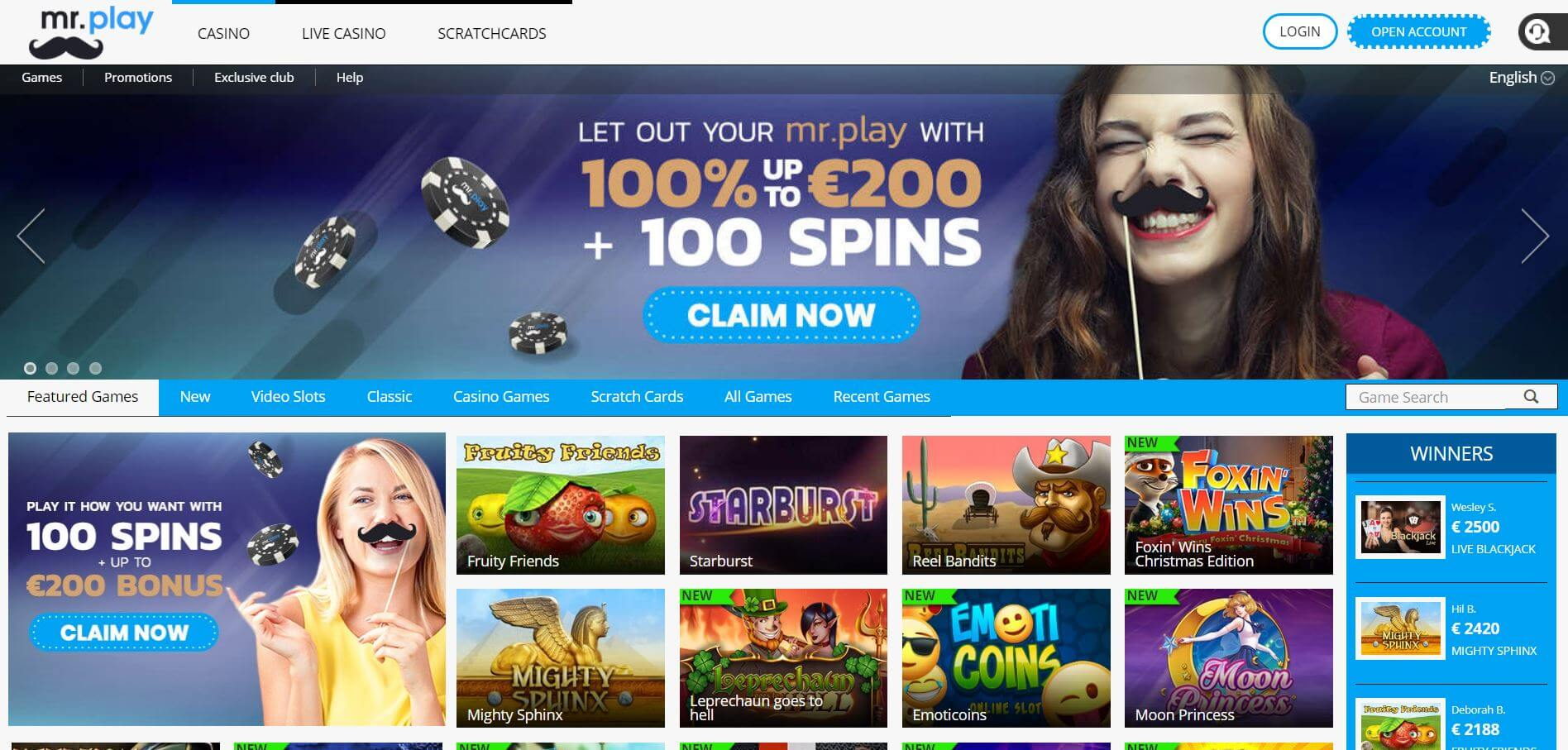 A screenshot of Mr Play Casino home page