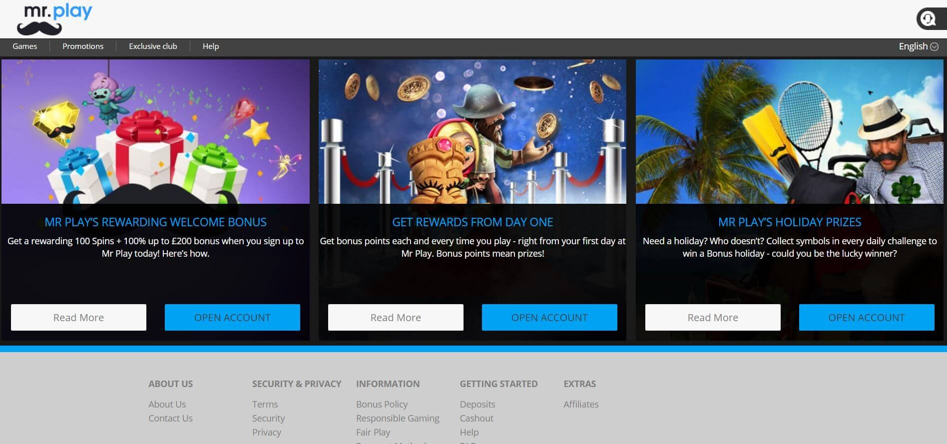 A screenshot of Mr Play Casino promotions page