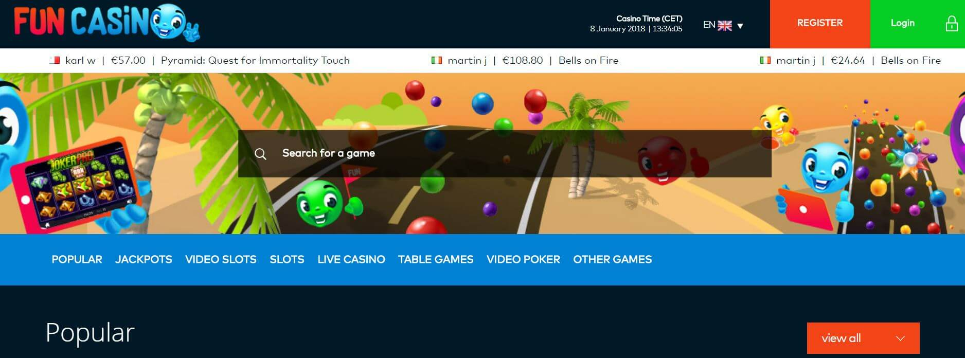 An image of the Fun Casino Home Page