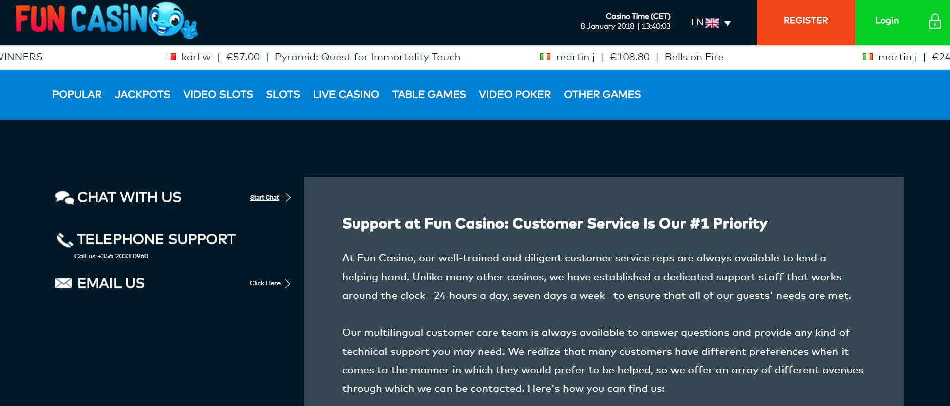 An image of the Fun Casino contact page