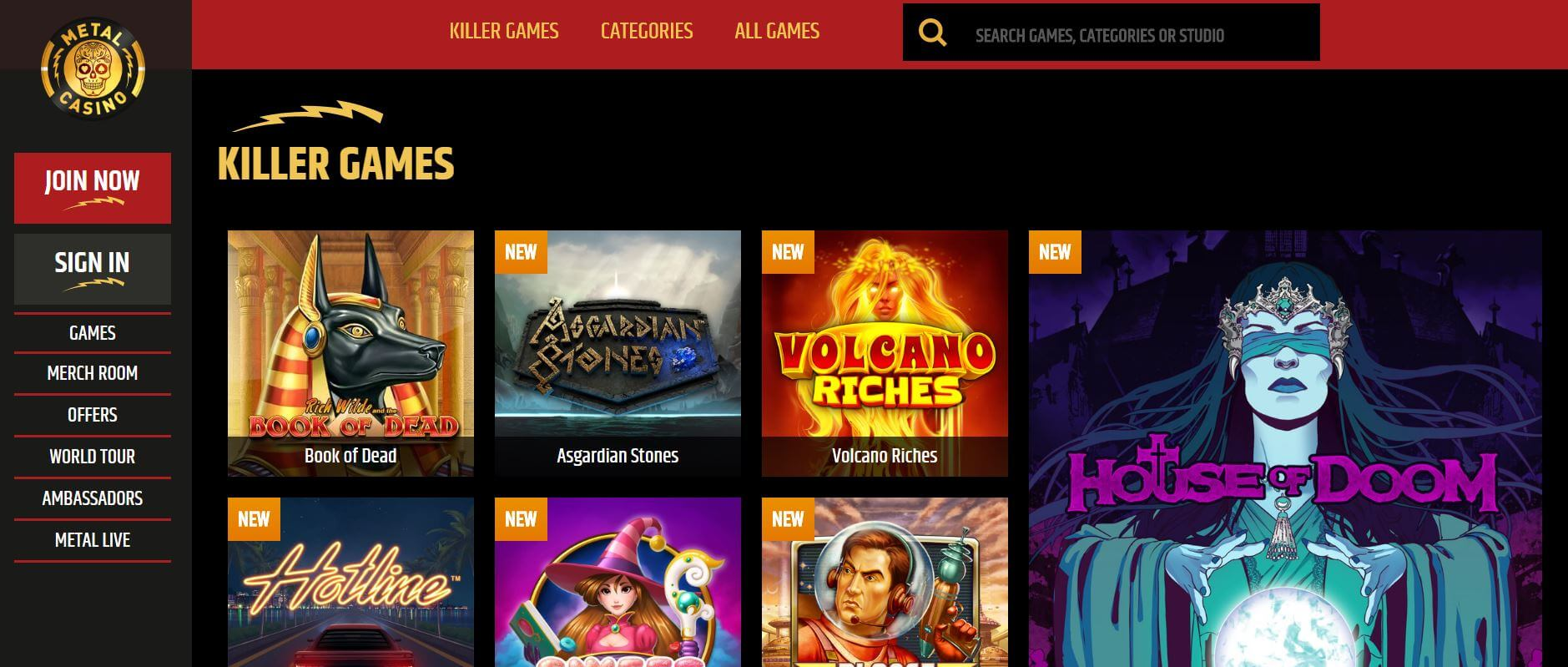 An image of the metal casino games page