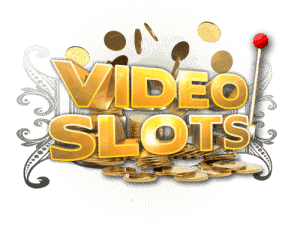 A image of Videoslots Casino in gold and gold coins falling