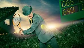 Image of Mr Green on the tennis court with green back ground